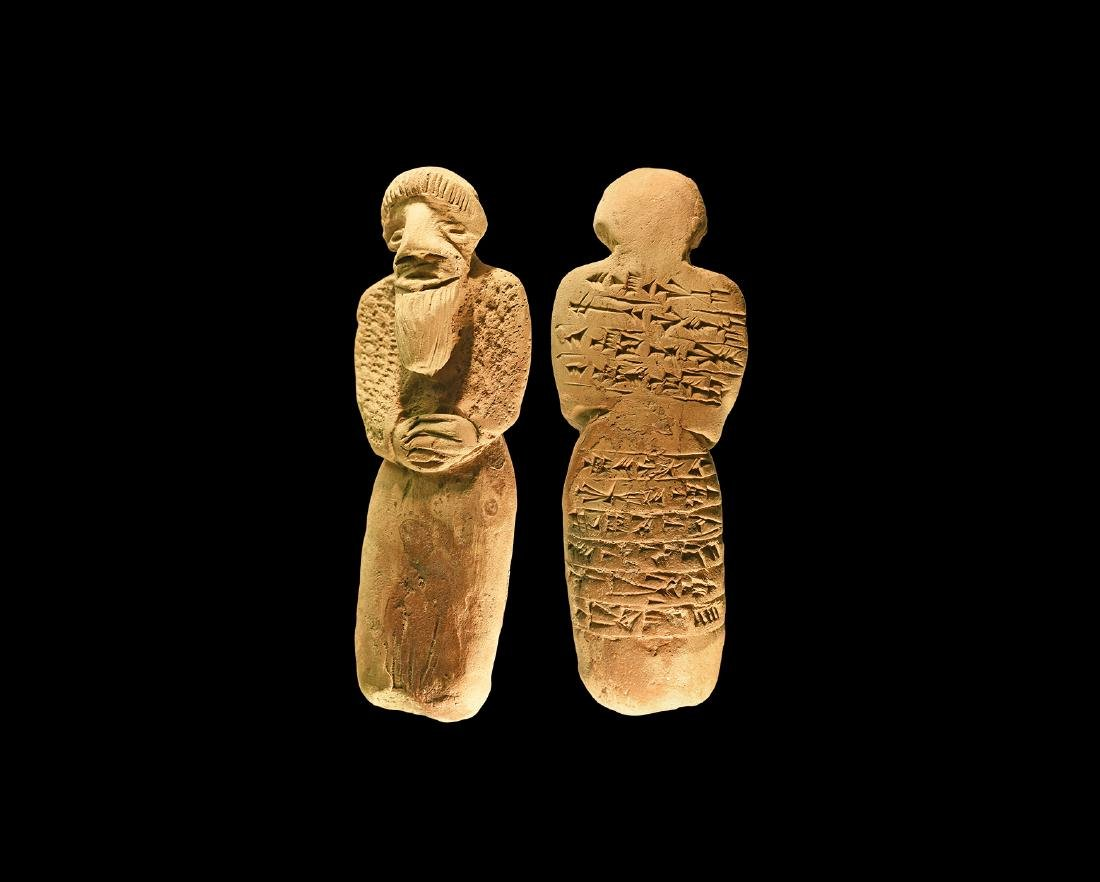 W. Asiatic Style Bearded Statuette with Cuneiform.