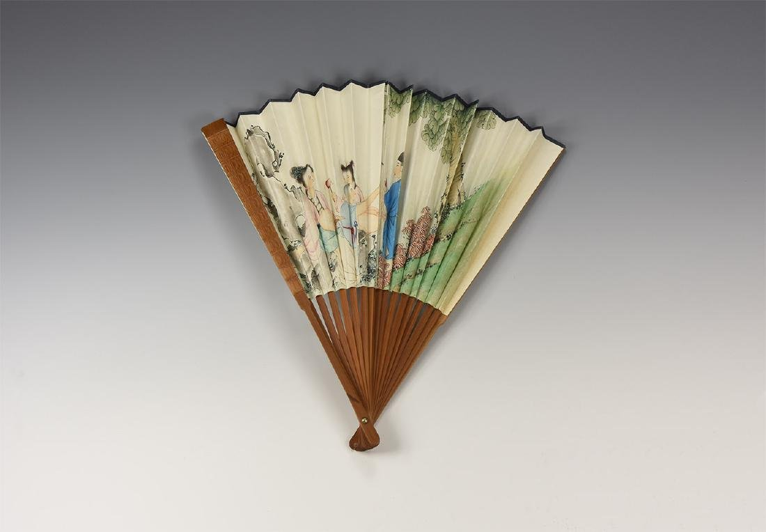 Chinese Painted Wooden Fan