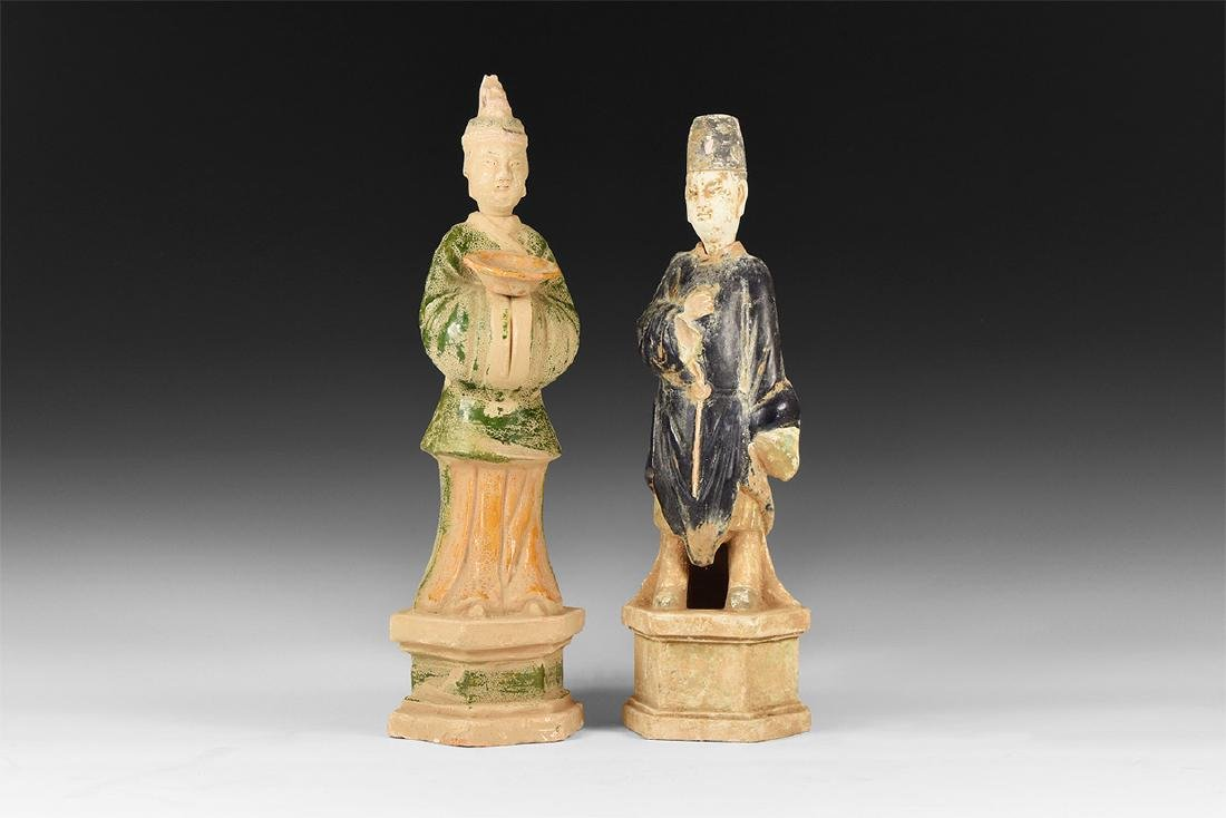 Chinese Large Ming Style Statuette Pair.