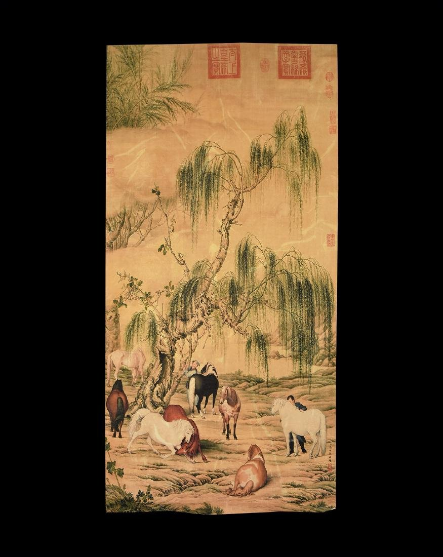 Chinese Landscape with Horses Print