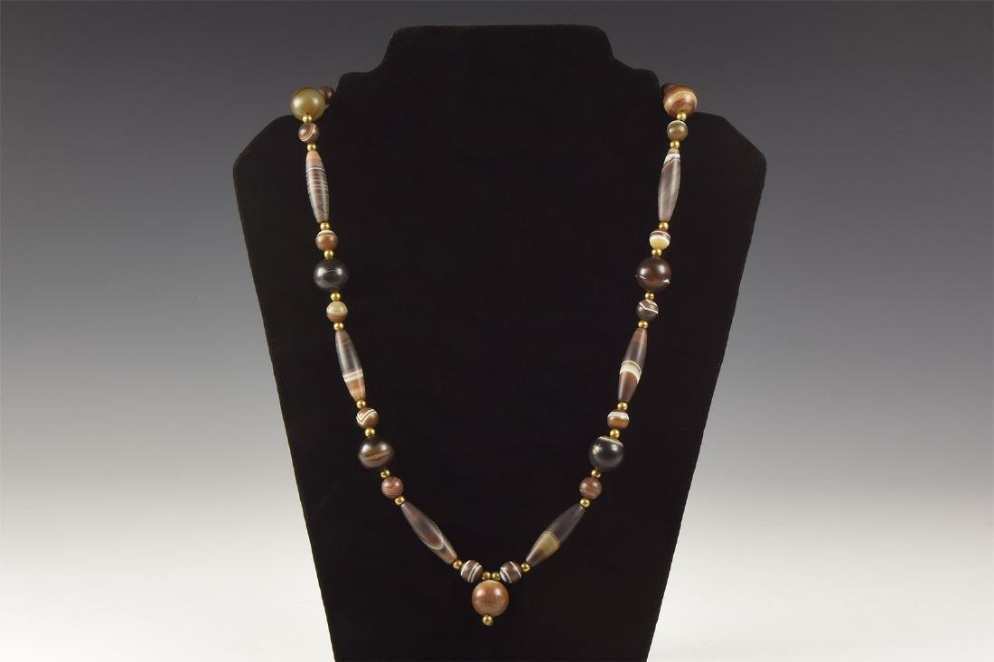Post Medieval Banded Agate Bead Necklace
