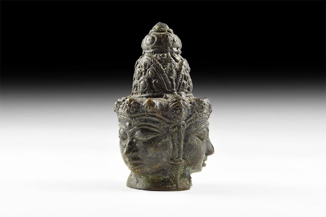 Cambodian Three-Faced Buddha Head Finial