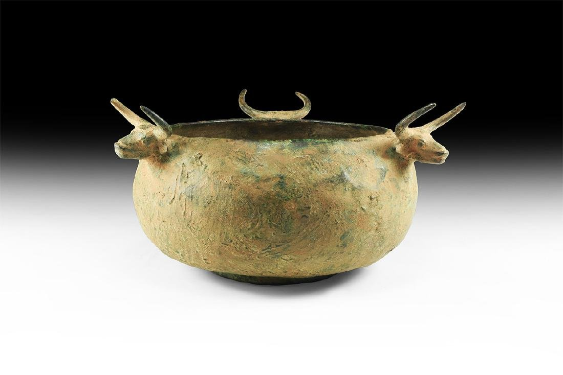 W. Asiatic Luristan Style Bowl with Bull's Heads.
