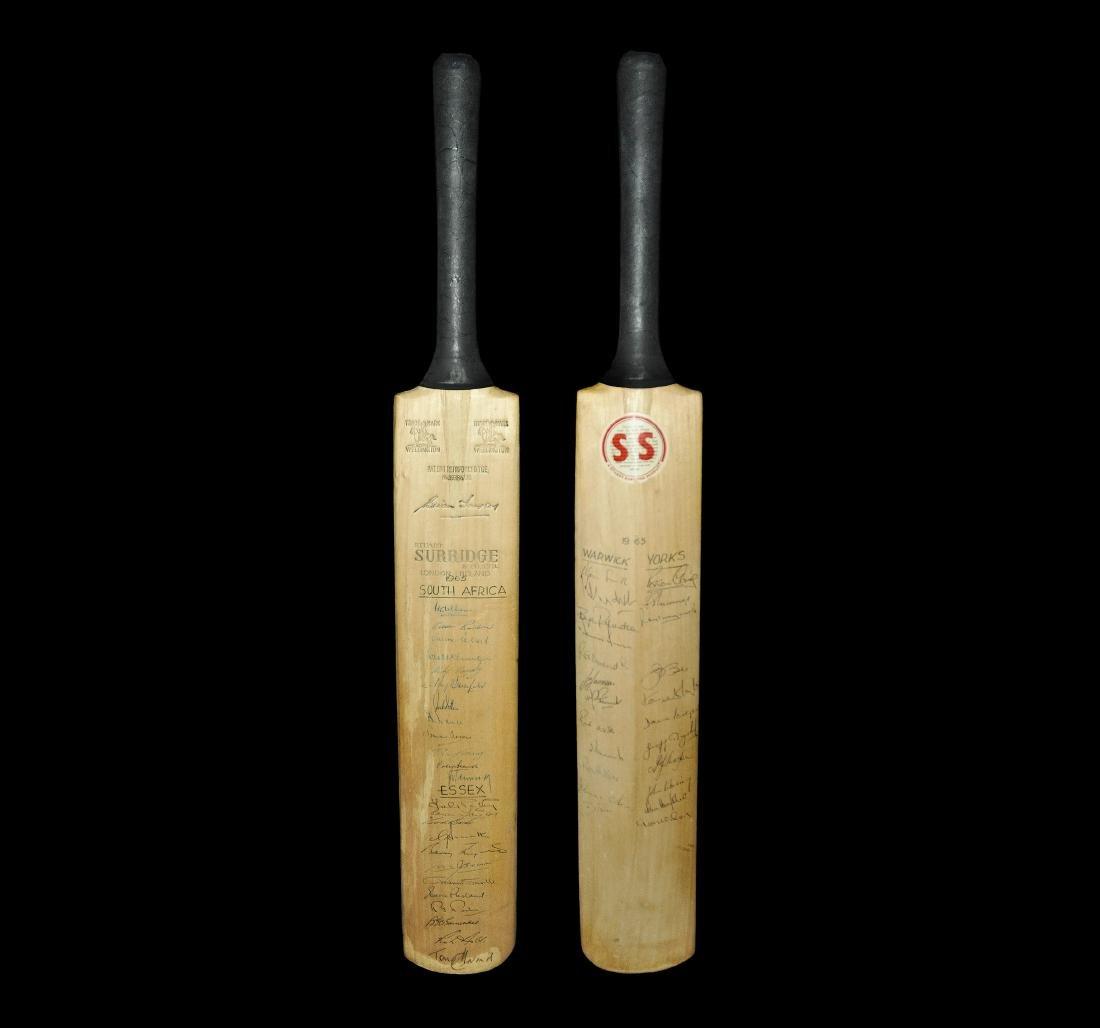Vintage Signed 1965 Tour Cricket Bat
