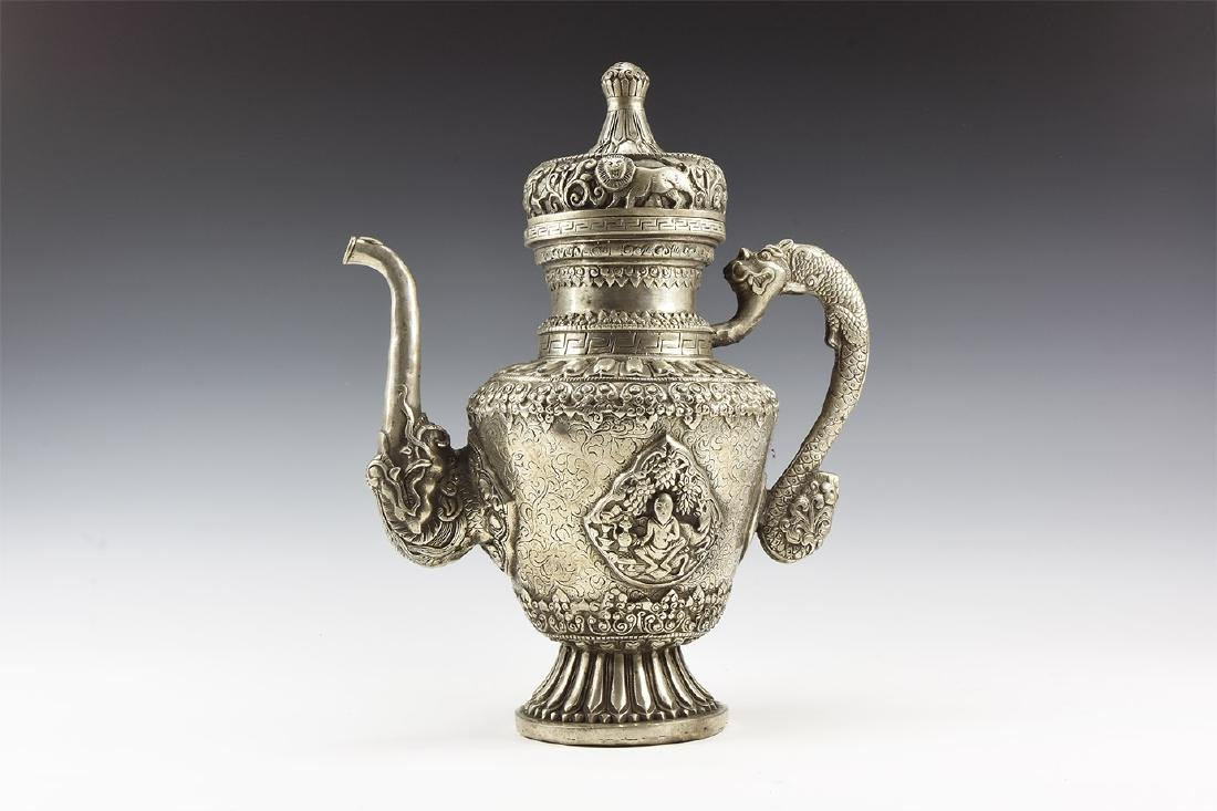 Tibetan Metal Teapot with Animals