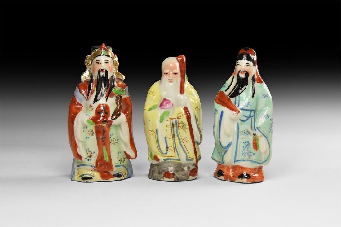 Chinese Glazed Statuette Trio