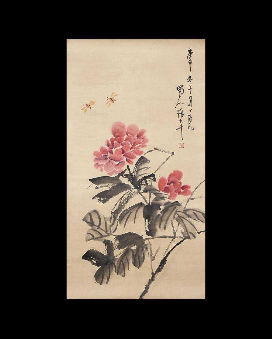 Chinese Scroll Painting with Flowers
