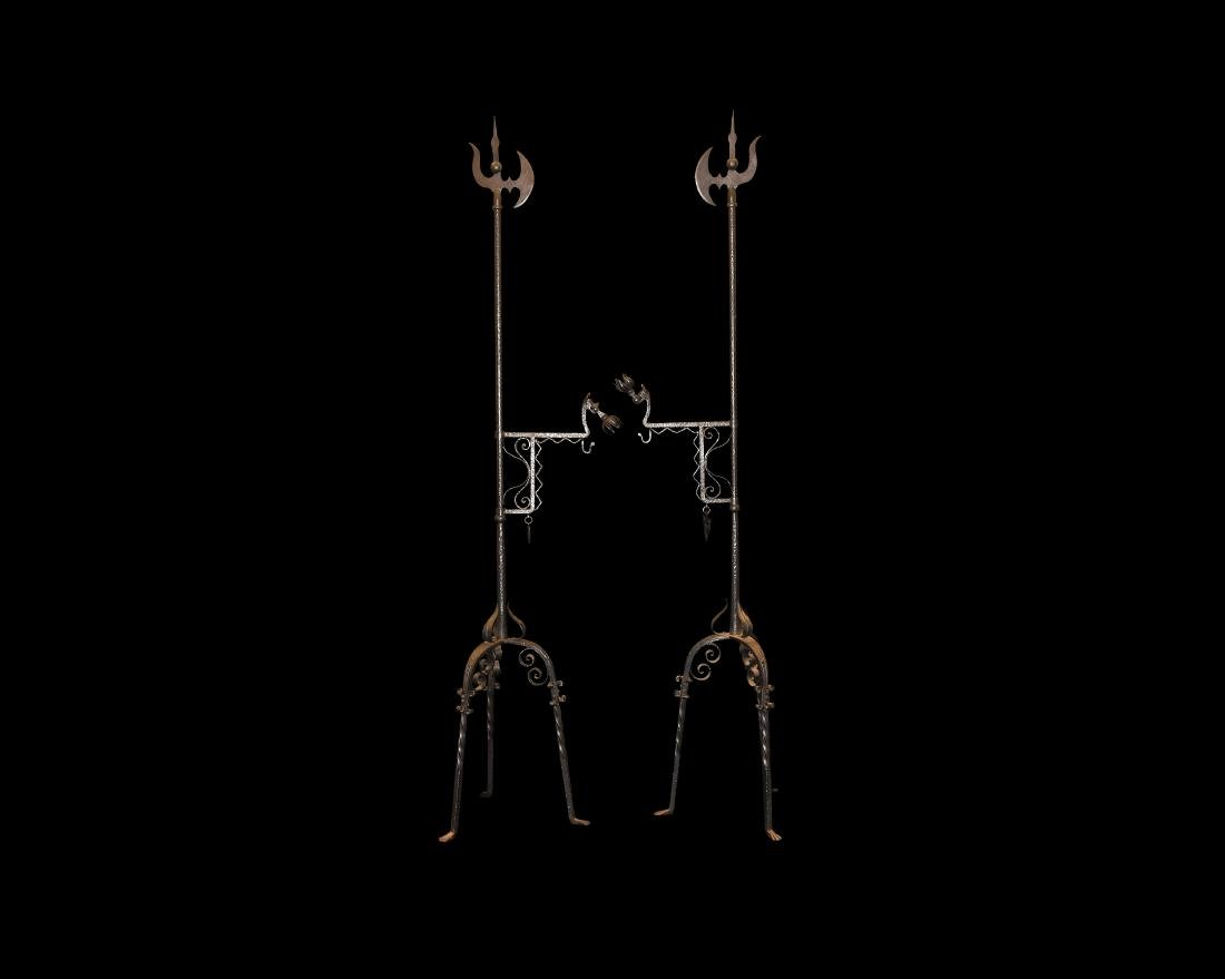 Post Medieval Wrought Iron Banner Stand Pair