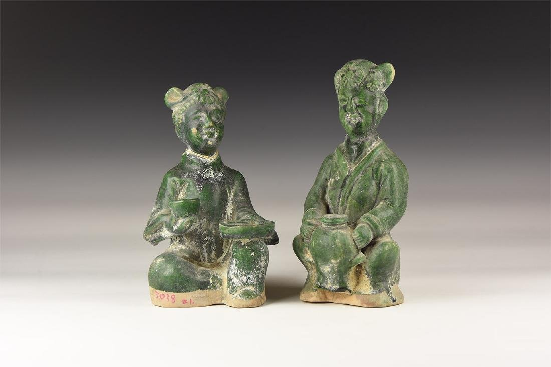 Chinese Green Glazed Statuette Pair