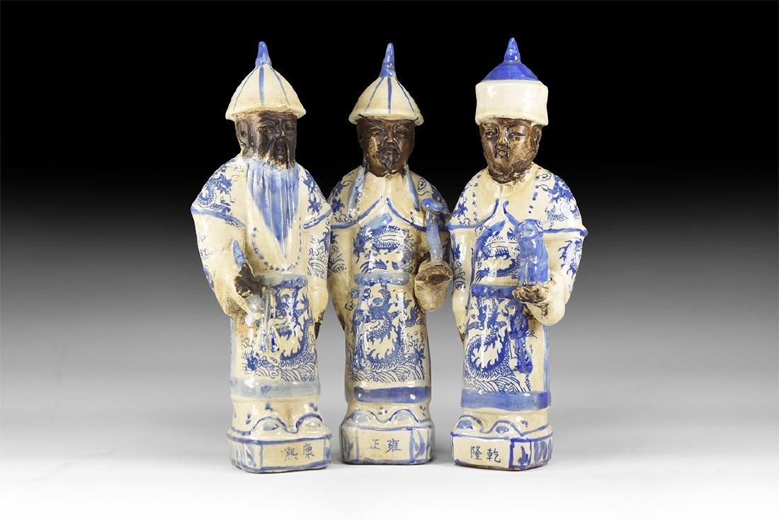 Chinese Blue and White Emperor Statuette Trio