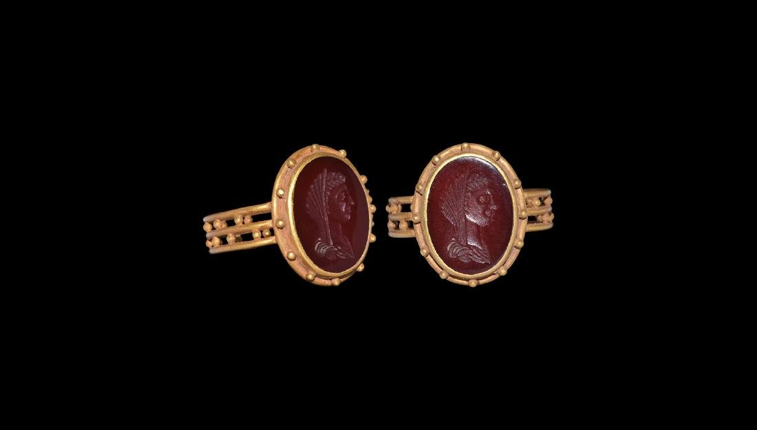 Roman Style Gold Ring with Female Bust Intaglio.