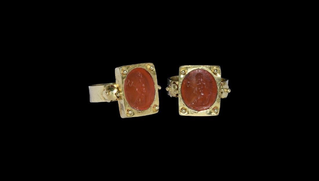 Roman Style Intaglio in Gilt Ring