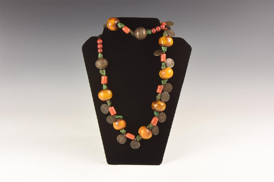 Tibetan Amber-Coloured Bead Necklace