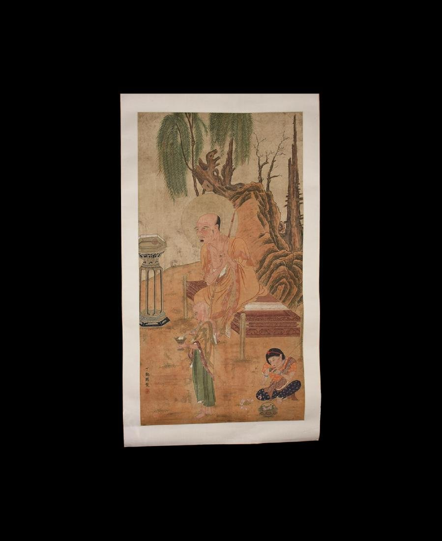 Chinese 'Guanpeng Ding' Scroll Painting with Figures