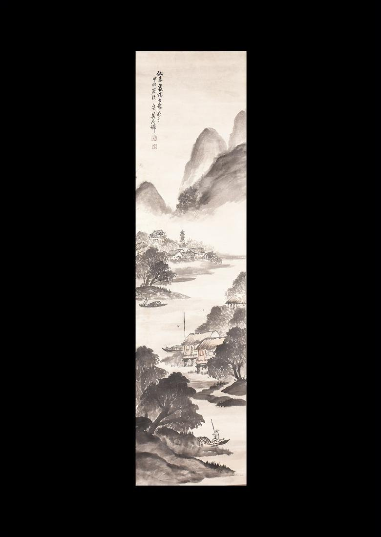 Chinese Scroll Painting with Mountainscape