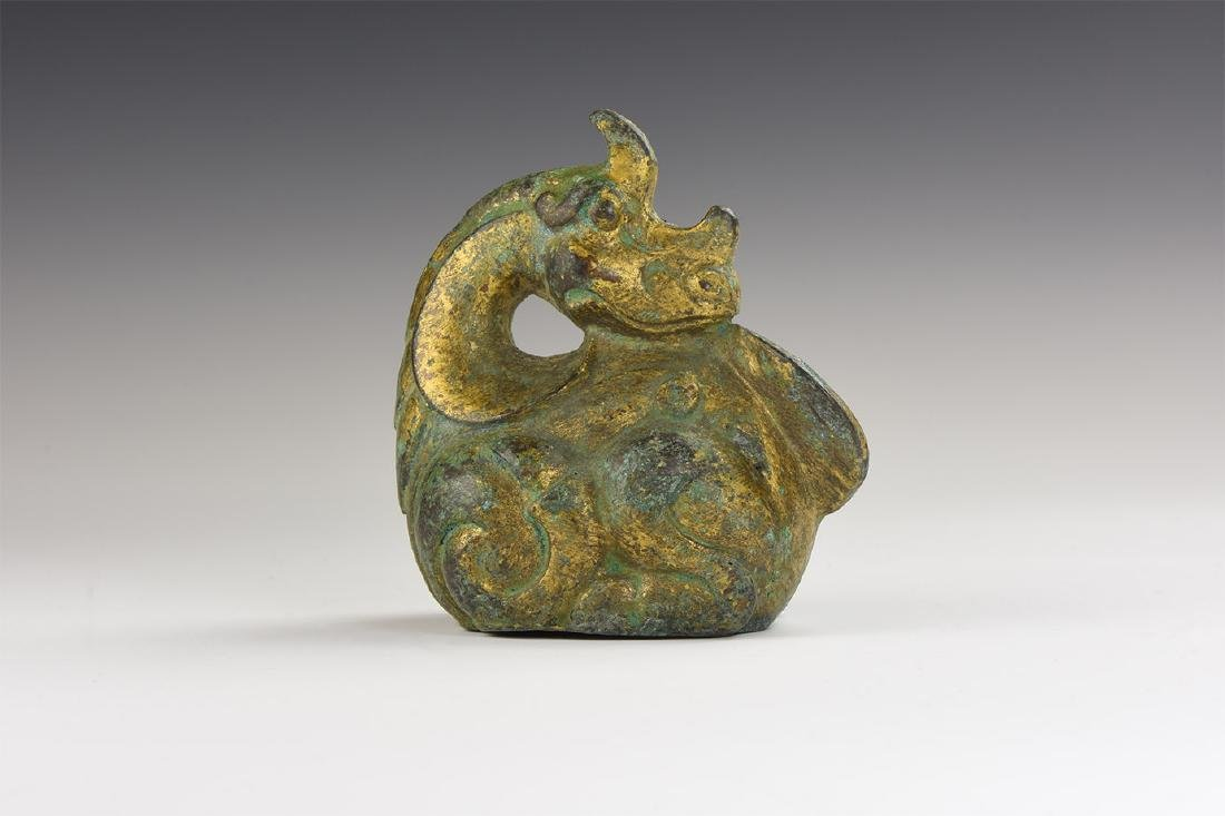Chinese Style Gilt Dragon Statuette.