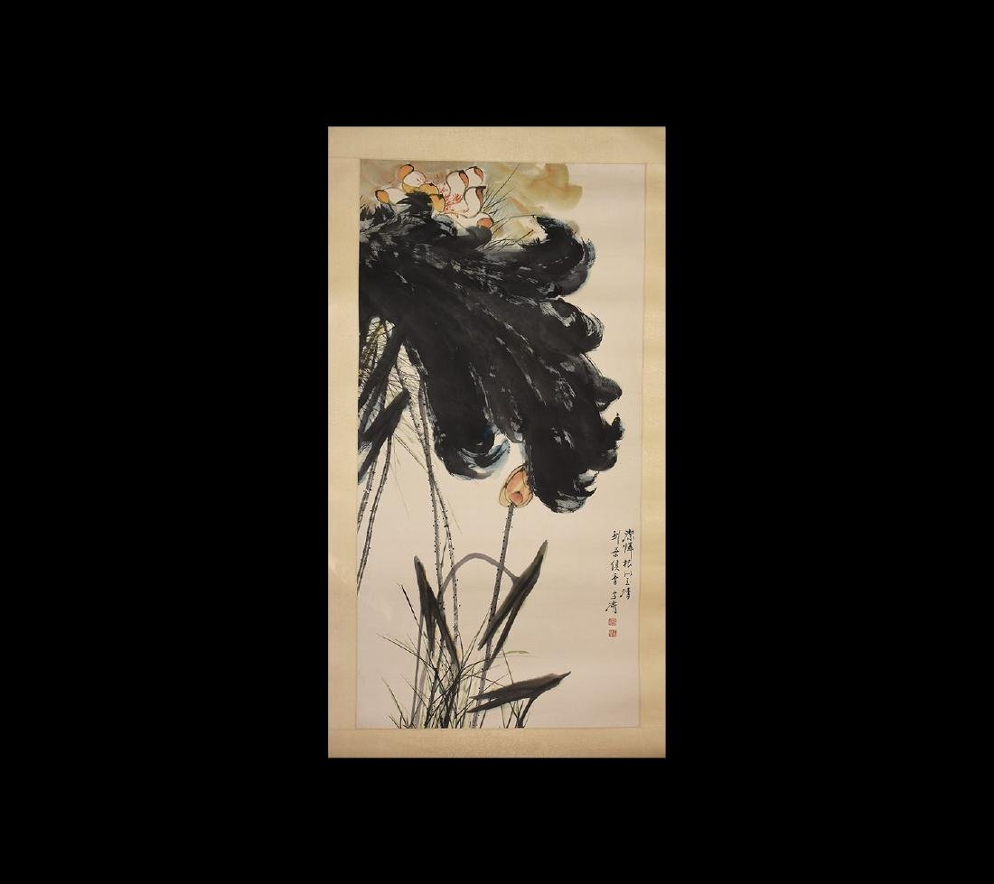 Chinese 'Xuetao Wang' Scroll Painting with Lotus