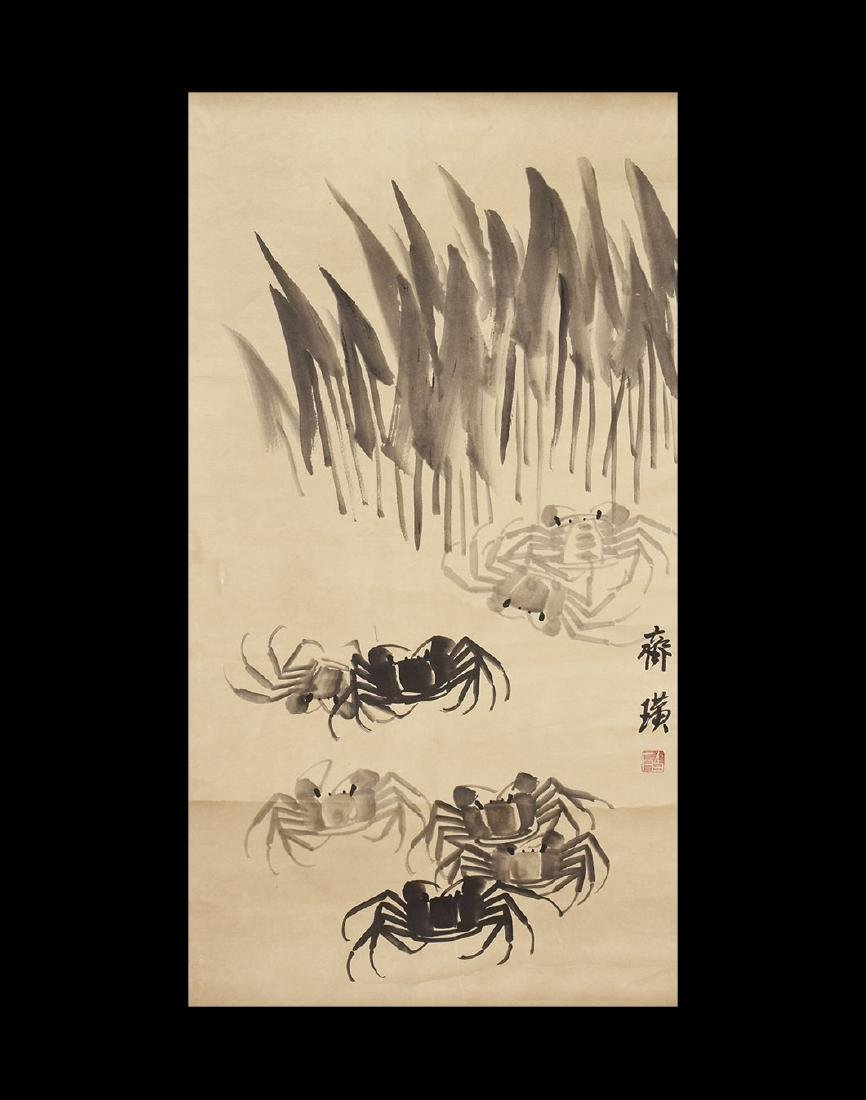 Chinese Scroll Painting with Crabs