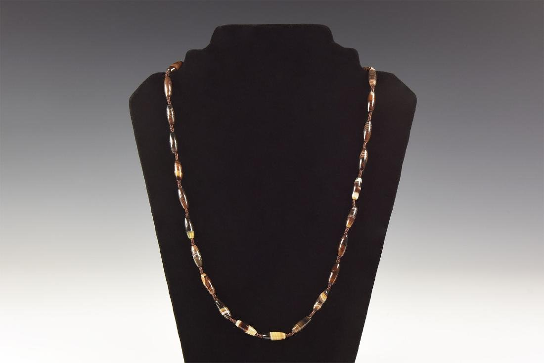 W. Asiatic Carved Banded Agate Bead Necklace