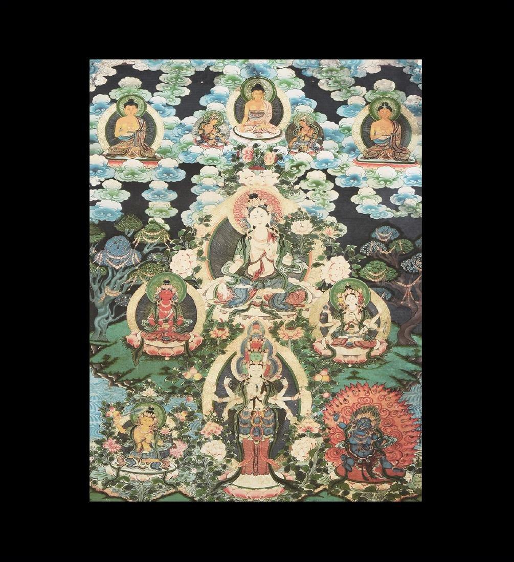 Tibetan Thanka Print with Bodhisattvas