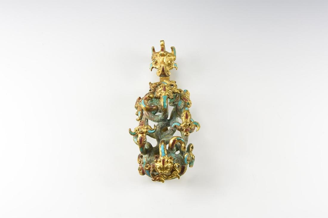 Chinese Gilt Belt Fastener with Dragons.
