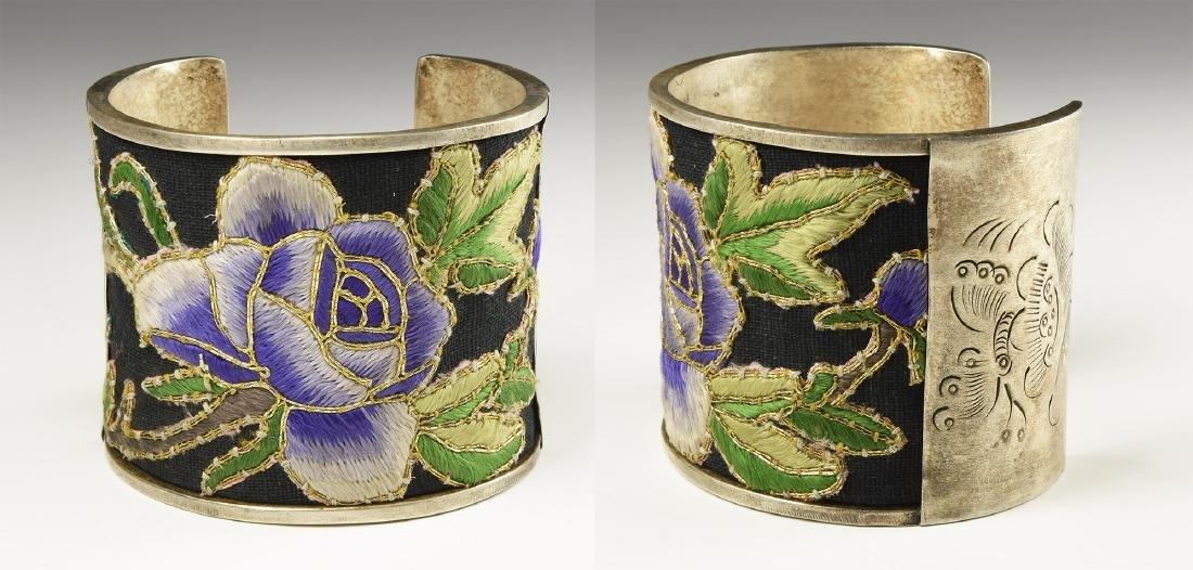 Chinese Silk Embroidered Bracelet.