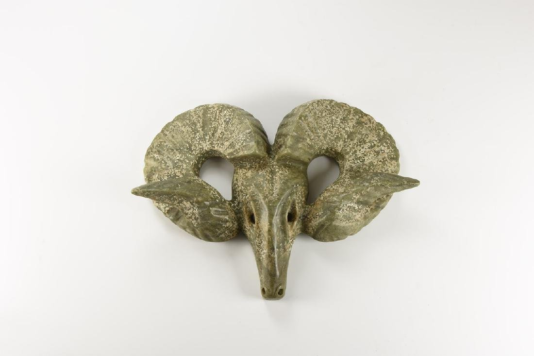 Chinese Style Ram's Head Plaque.