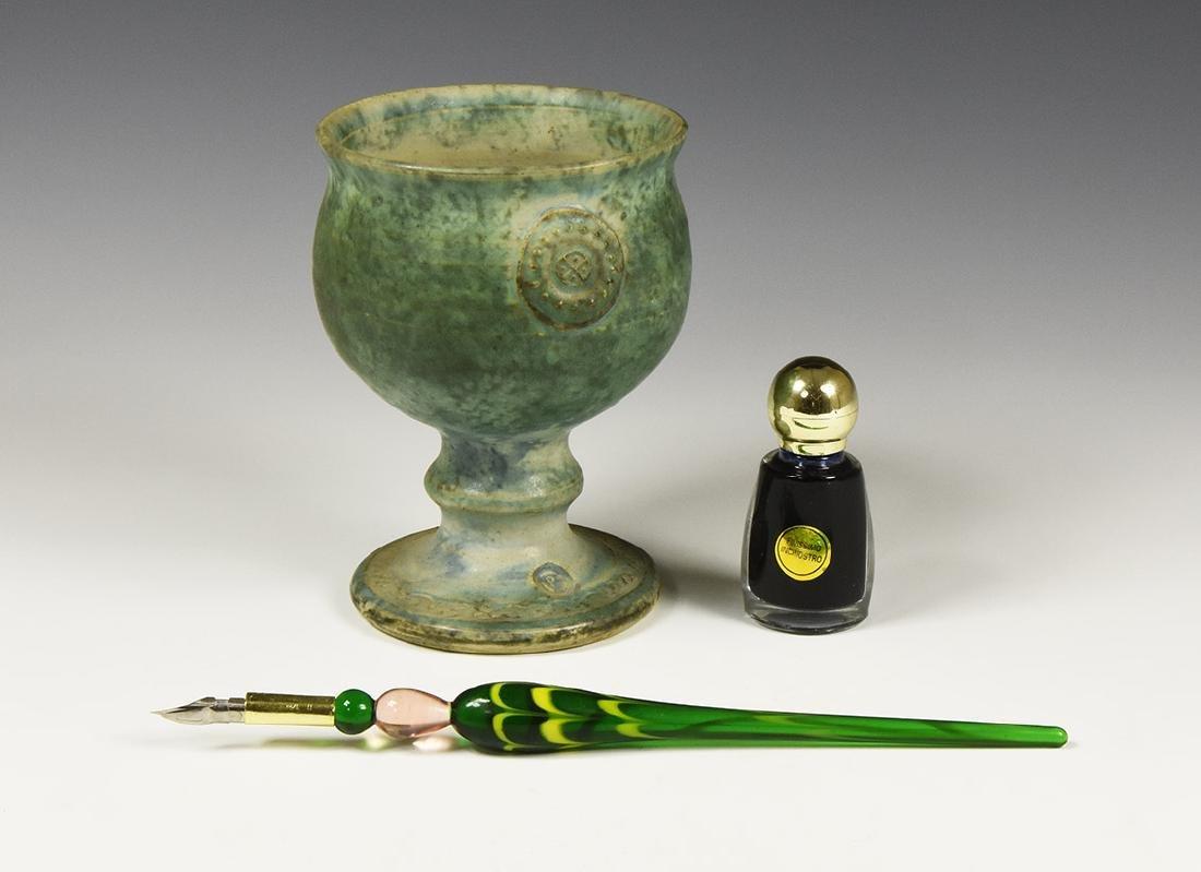 Vintage Goblet and Dip Pen Group