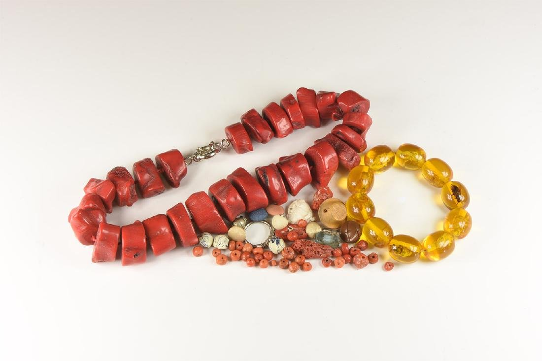 Tibetan Style Coral and Other Bead Group