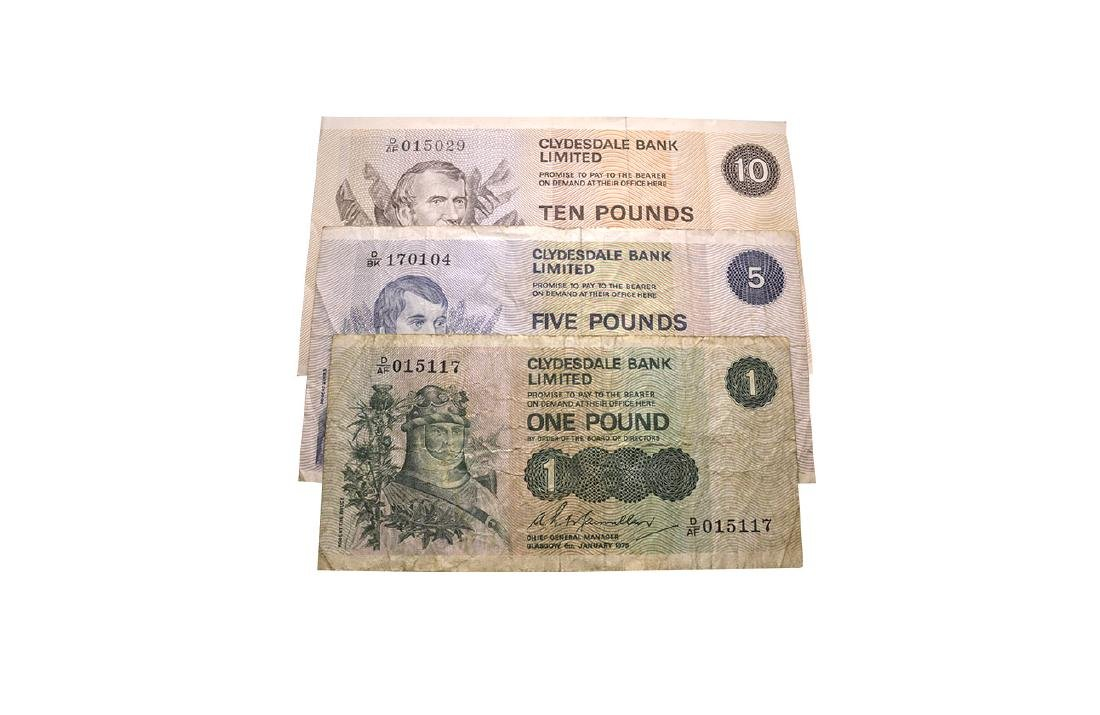 Banknotes - Scotland - Clydesdale Bank - £1, £5 and £10