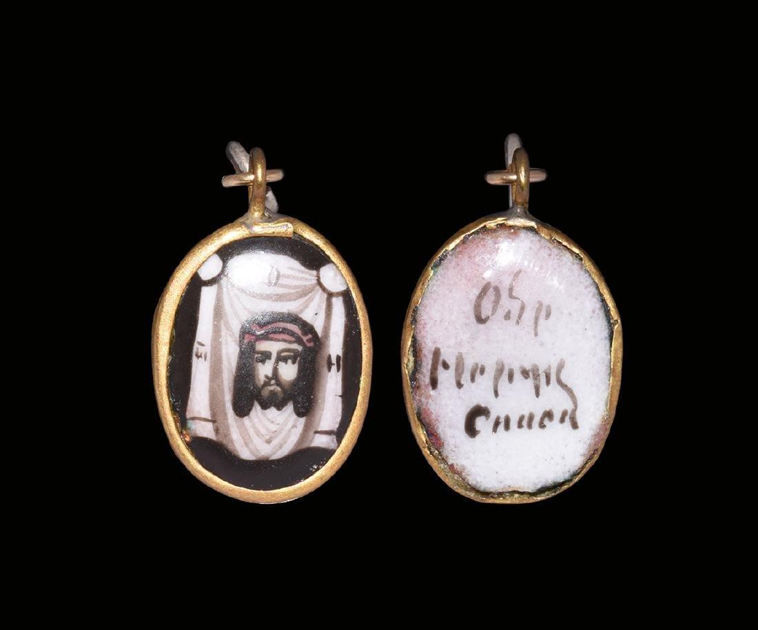 Gold Mounted Enamelled Christ Pendant