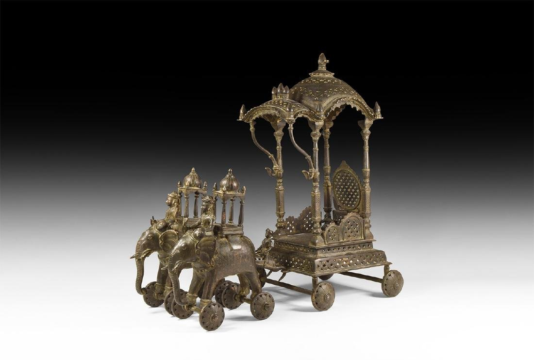 Indian Temple Chariot Altar with Elephants