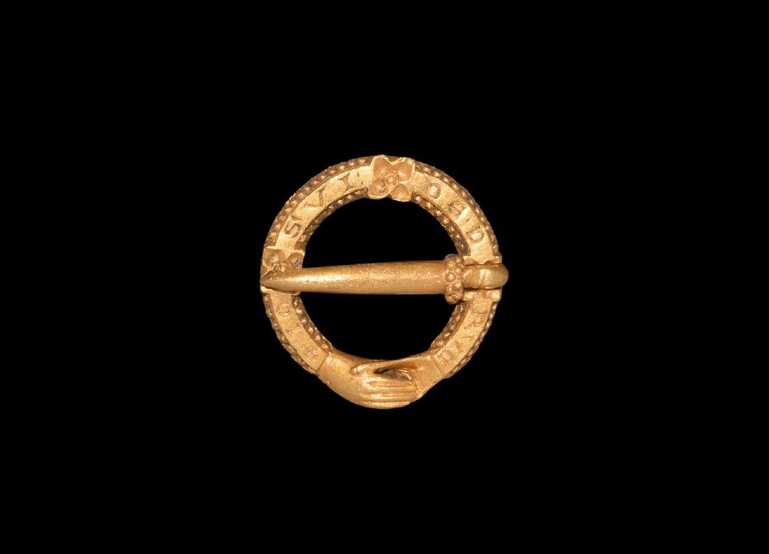 Gold 'I am a gift of love' Posy Ring Brooch