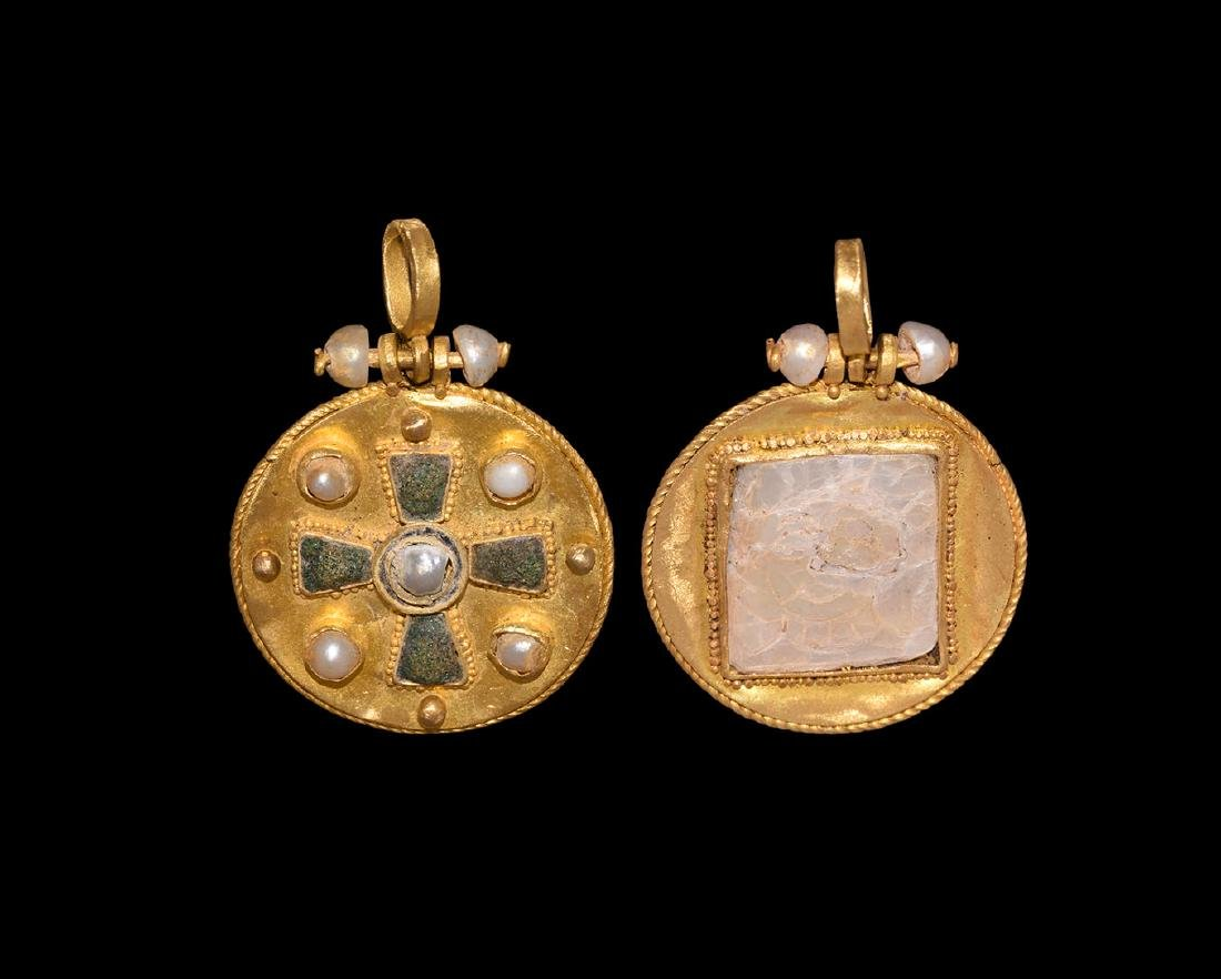 Gold Pendant with Cross and Pearls