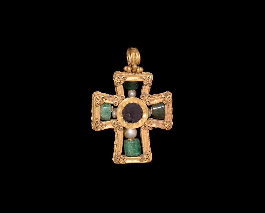 Gold Cross Pendant with Emeralds and Pearls