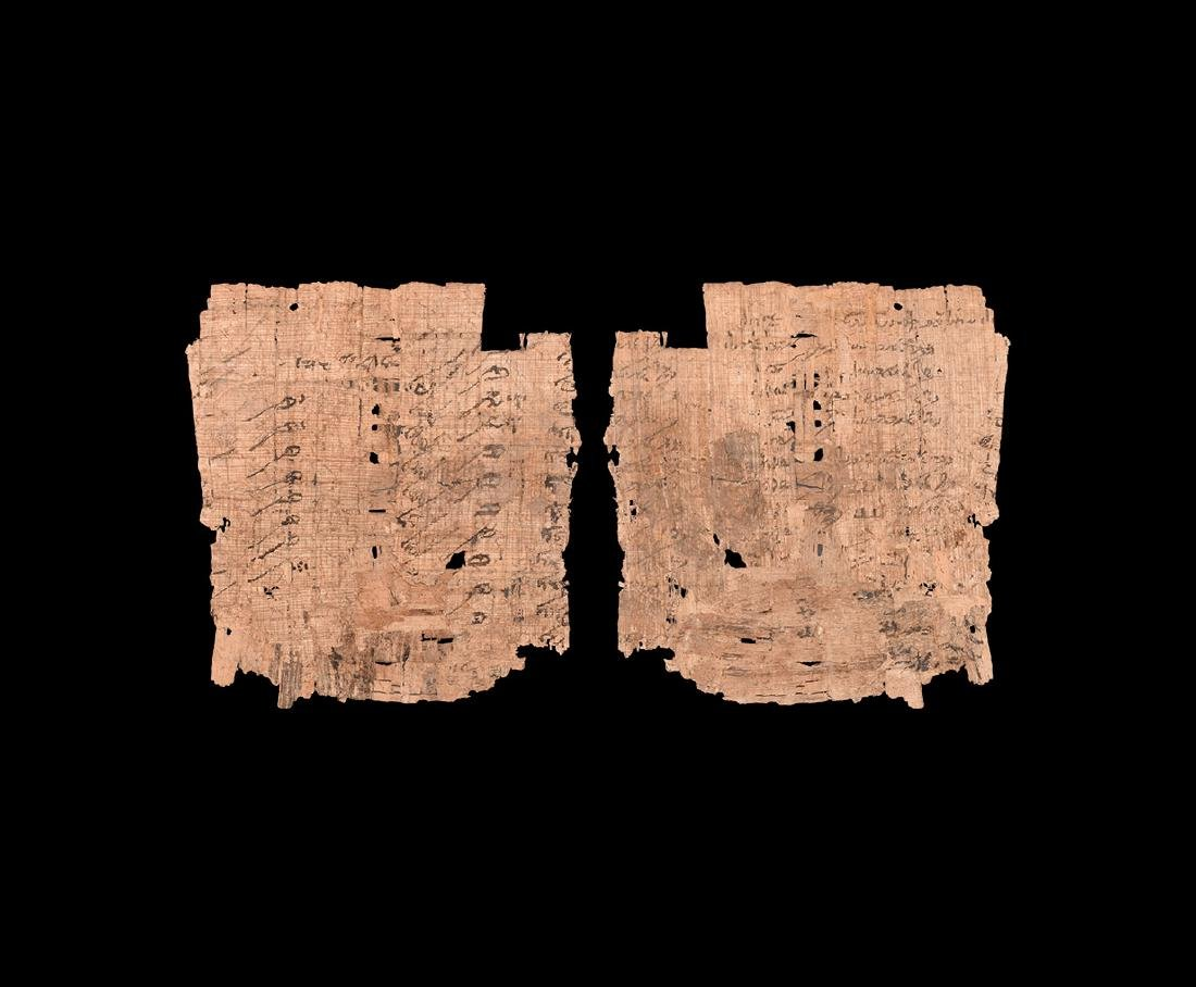 Papyrus with Text, Numbers and Annotations