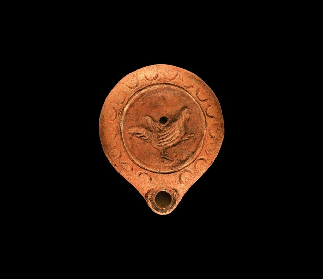 Roman Oil Lamp with Cockerel