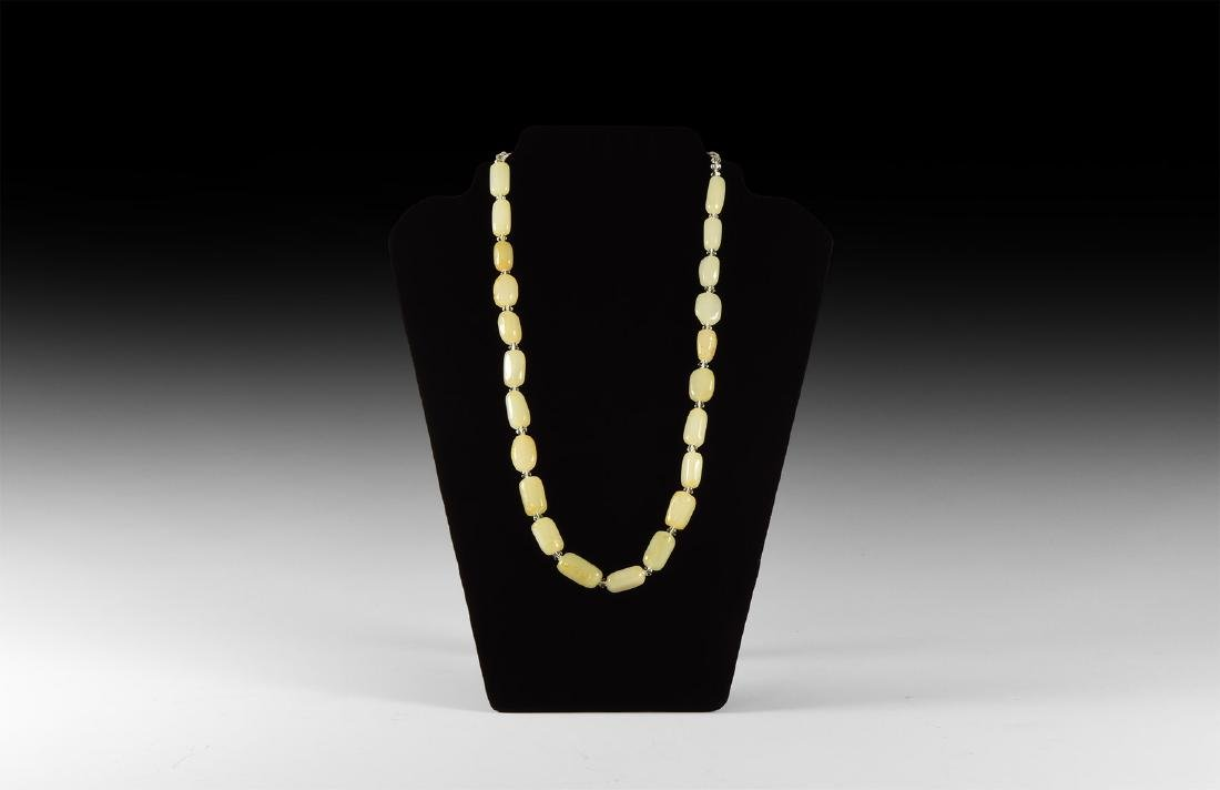 Chinese Milky Jade Bead Necklace