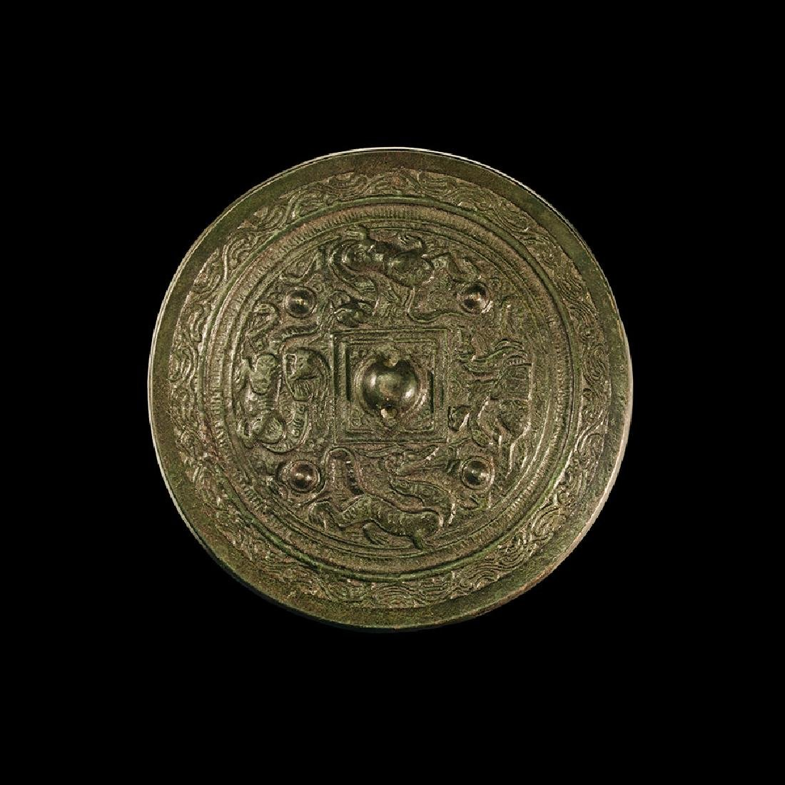 Chinese Han Mirror with Mythical Beasts
