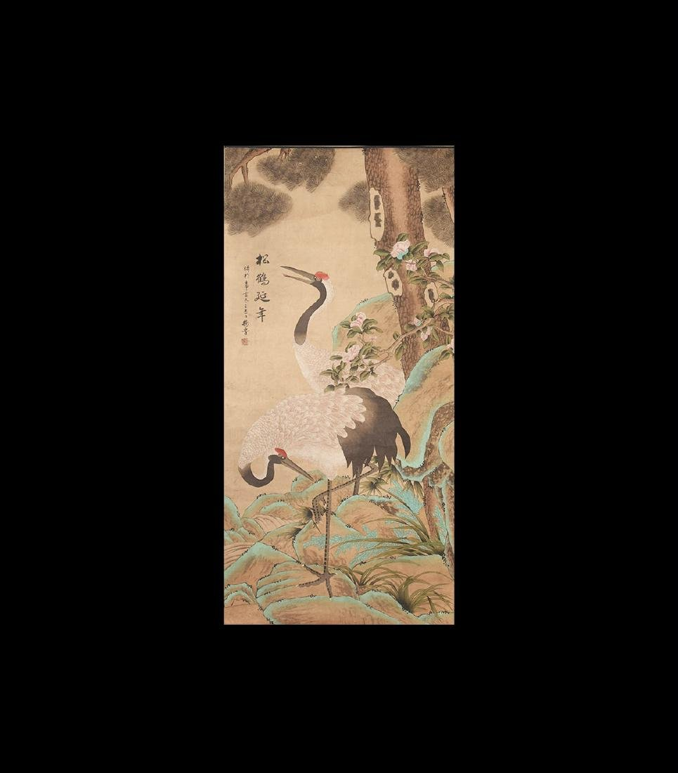 Chinese Scroll Painting of Cranes