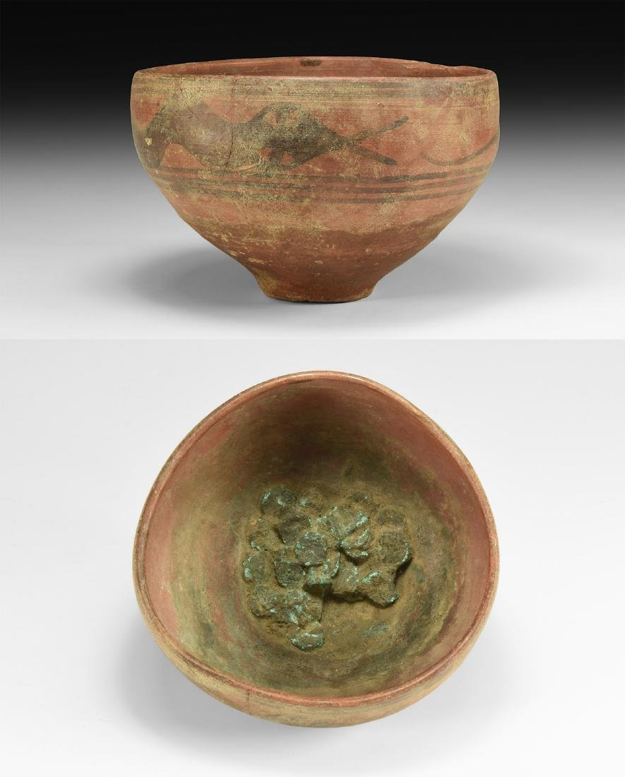 Indus Valley Mehrgarh Bowl with Snake and Coins