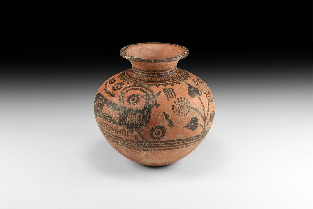 Indus Valley Mehrgarh Polychrome Jar with Ibex