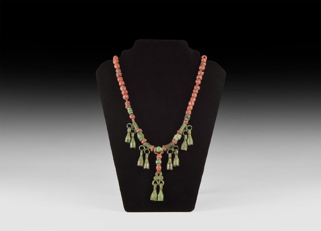 Viking Bead Necklace with Bell Pendants