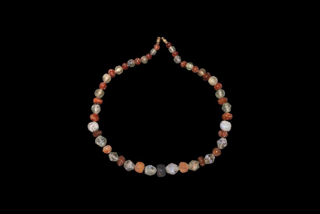 Viking Amber and Glass Bead Necklace