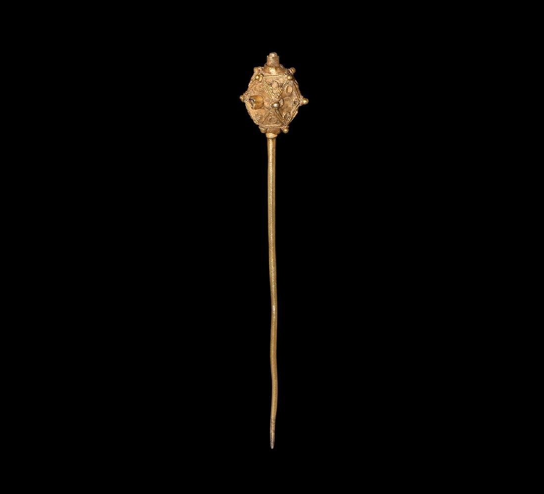 Medieval Gilt Silver Dress Pin