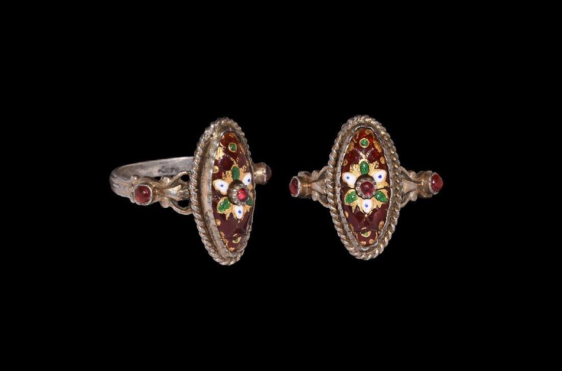 Post Medieval Silver Gilt Enamelled Ring