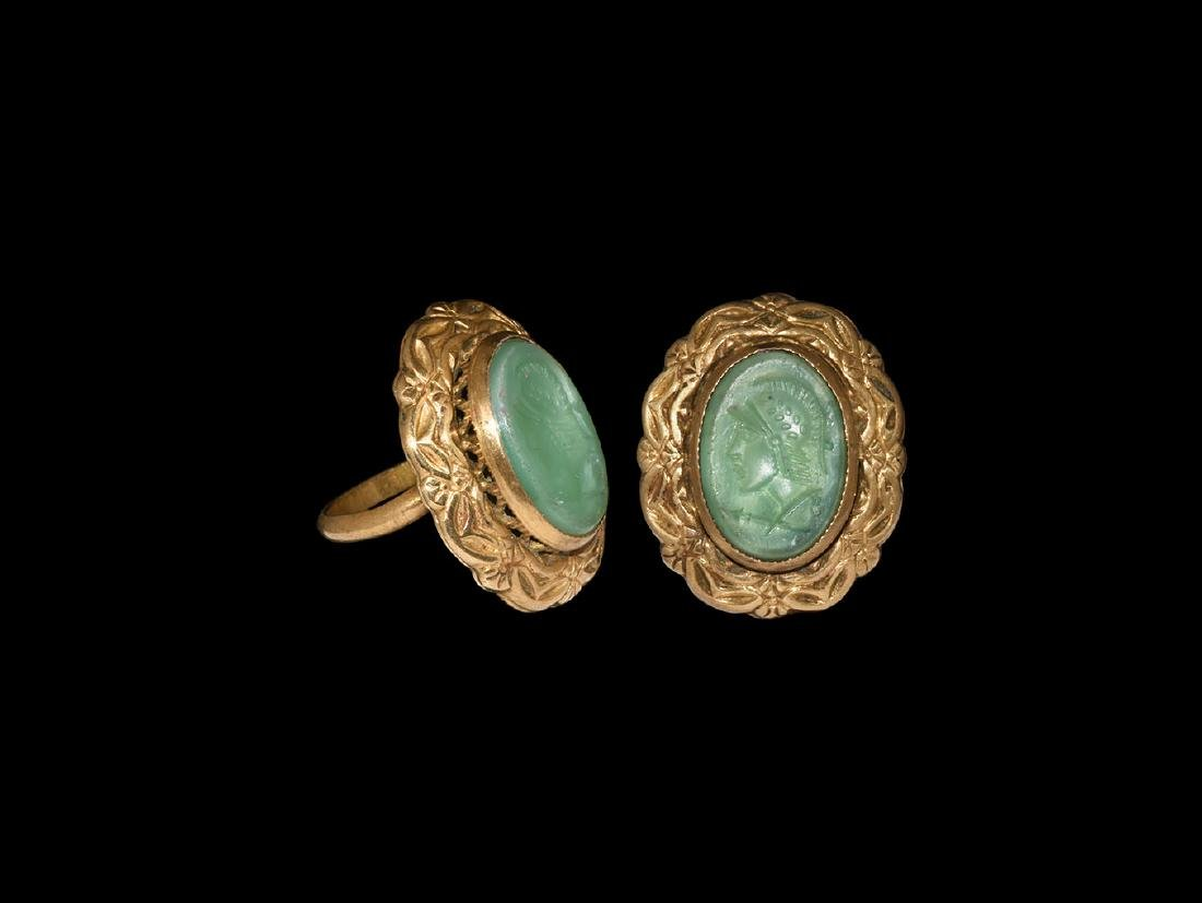 Gilt Grand Tour Ring with Helmetted Bust Intaglio