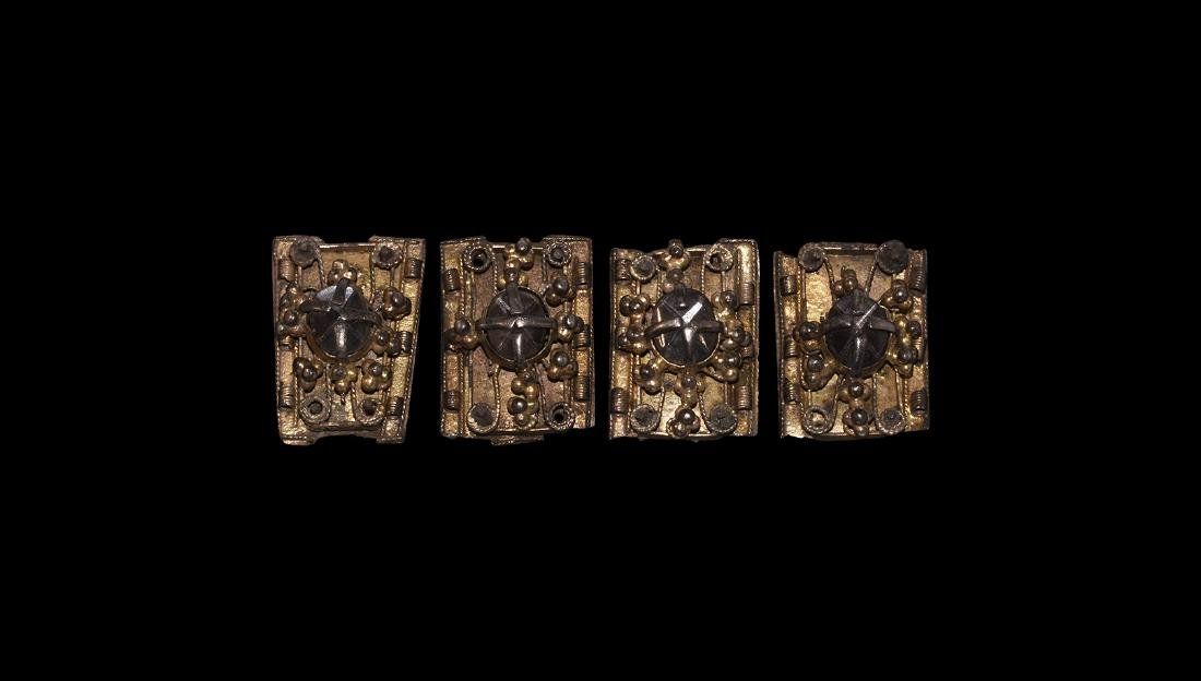 Post Medieval Gilt Silver Jewelled Mount Group