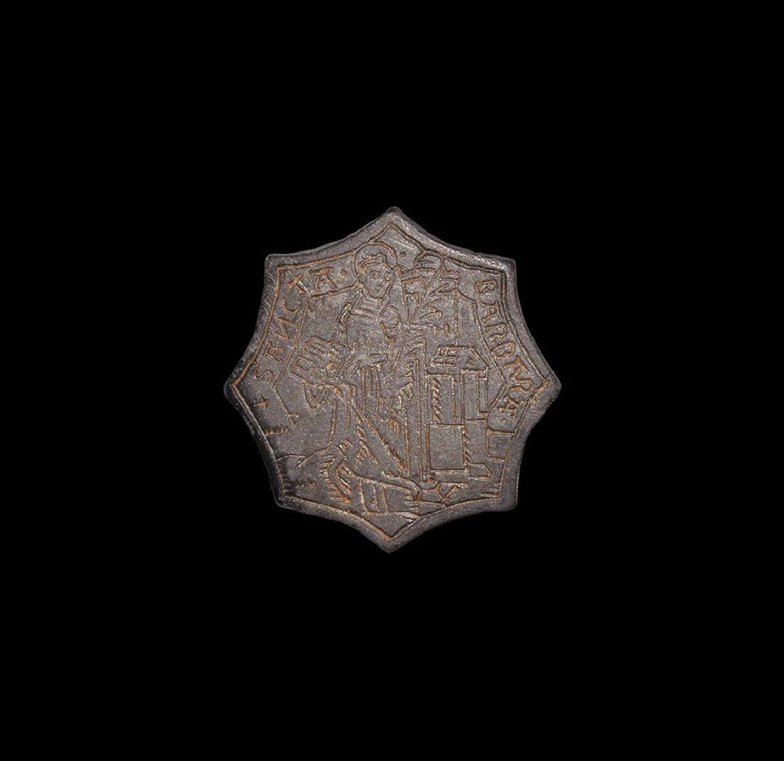 Medieval Engraved St Barbara Pilgrim's Badge