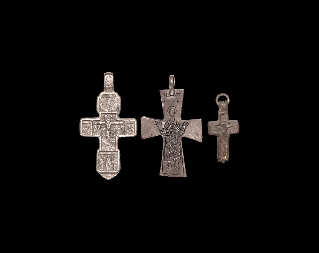 Byzantine and Later Silver Cross Pendant Group